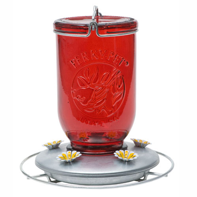 Red Wide Antique Glass Hummingbird Feeder
