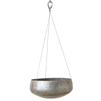 Galvanized Hanging Planter, 11in