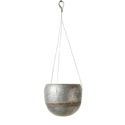 Galvanized Hanging Planter, 9in