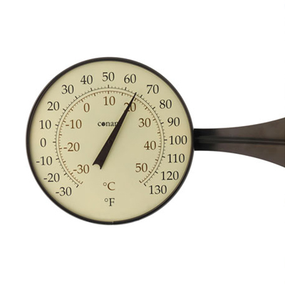 Dial Thermometer, 8-inch Bronze Patina