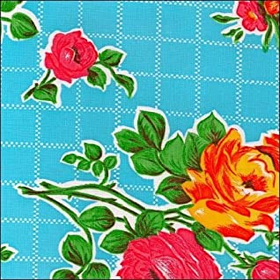 Blue Roses Oilcloth Fabric